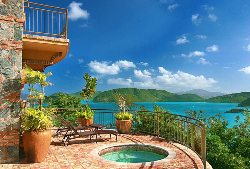 The romantic view from the pool side spa located off of the Cottage balcony.