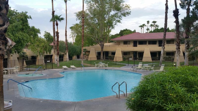 Quiet and serene pools and spas throughout the complex with tennis courts and BBQ pits. Enjoy!!