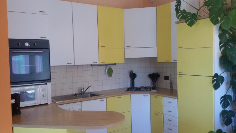 cucina con forno, forno a microonde, lavastoviglie, frigo, congelatore