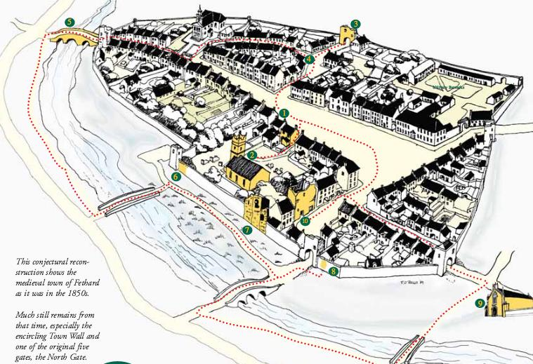 This conjectural recon- struction shows the medieval town of Fethard as it was in the 1850s