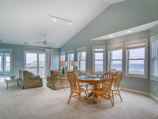 Family room and dining area with great ocean views