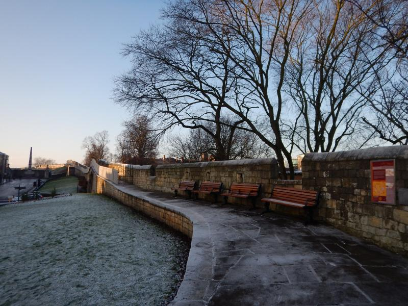 York's Medieval City Walls in a winter frost.