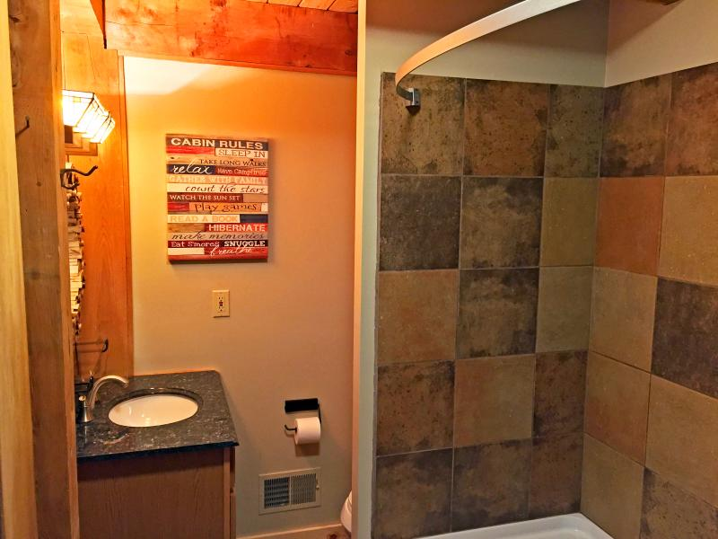 Newly renovated lower bathroom