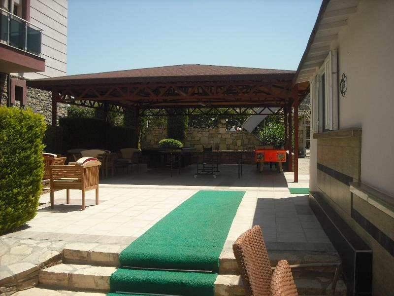 Covered games area, pool table ,table tennis, air hockey, table football