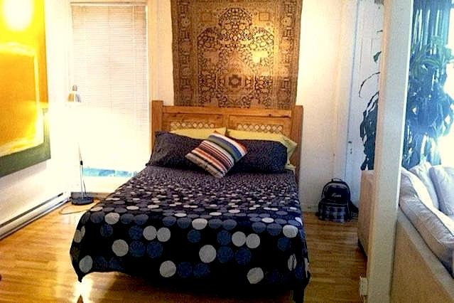 bedroom with  comfortable queen size bed