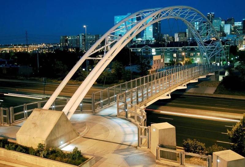 Footbridge across the street is gateway to RiverWalk, Confluence Park and Downtown Denver