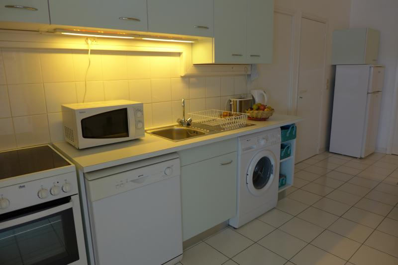 fully fitted kitchen with oven, induction hob, washing machine and dishwasher, microwave