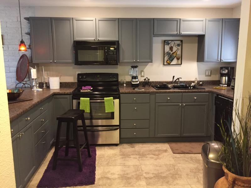 large kitchen,microwave,dishwasher,and all utensels