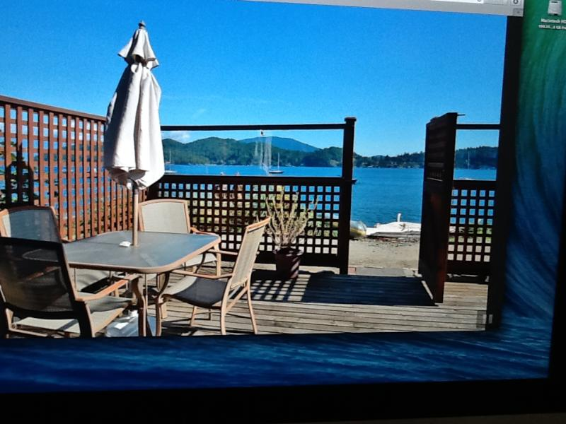A cosy, private patio, with bar-b-q, that opens to the Waterfront Trail.