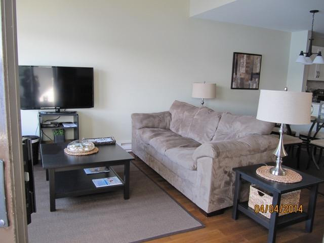 The lounge - choose to watch the 40 inch TV or gaze out the window at the everchanging views.