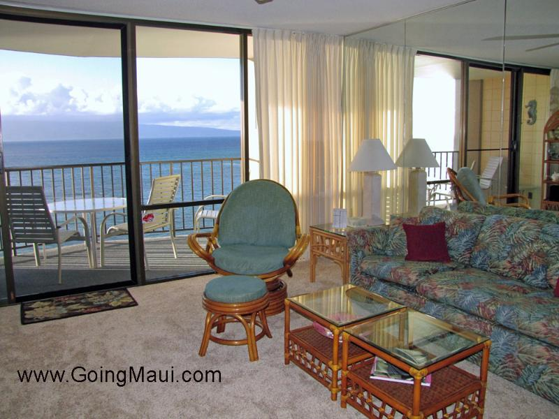 Living room looking out at the ocean and island of Molokai