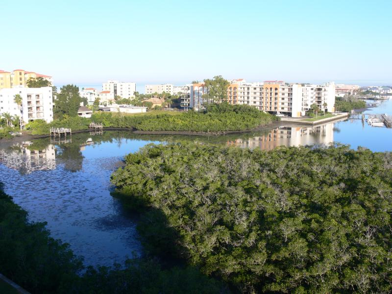 Panoramic gulf and intracoastal view looking west from balcony.