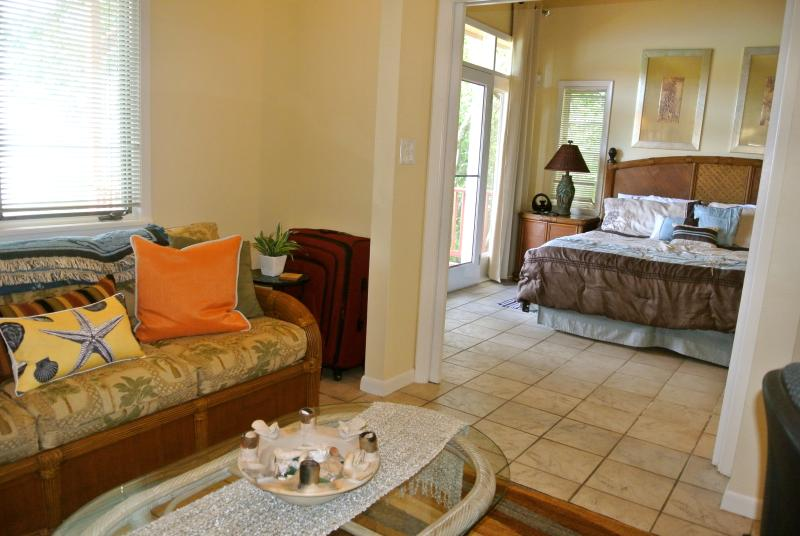 The bonus room off the Master Suite has a sleeper sofa & TV. It can be closed off for privacy.