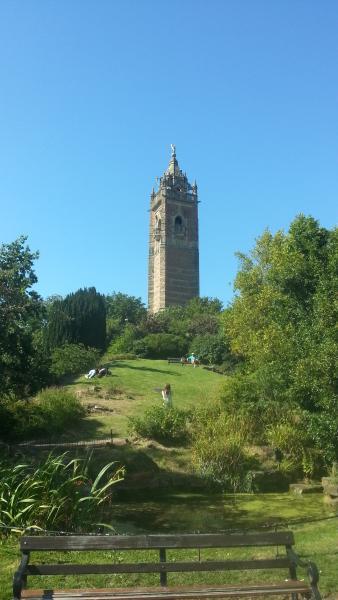 Cabot Tower dominates Brandon Park, 350m.