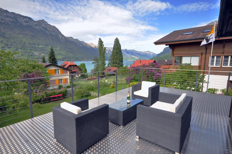 Massive balcony with beautiful lake views