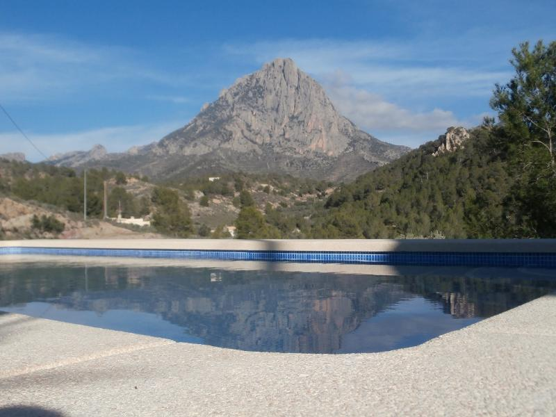 Pool looking towards the Puig Campana mountainarea