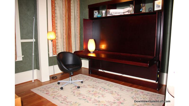 over sized desk that converts to queen wall bed in 2nd sleeping area