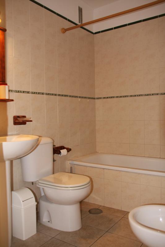 Bathroom with bathtub and bidet.