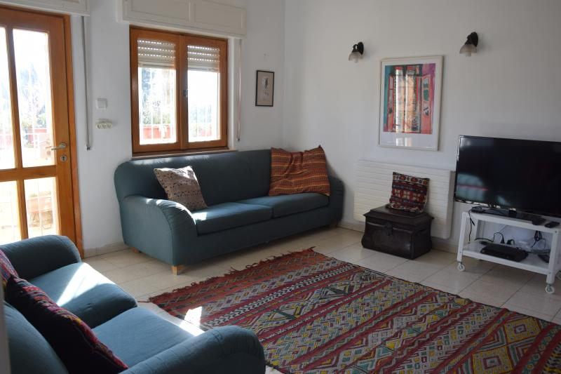 Salon spacieux, confortable, coloré
