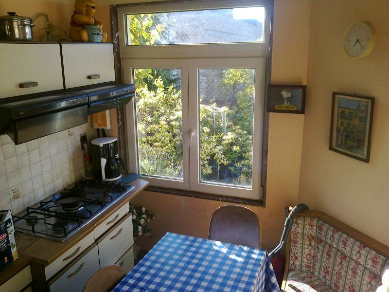 Französische Küche. Vue Sur le petit Jardin.