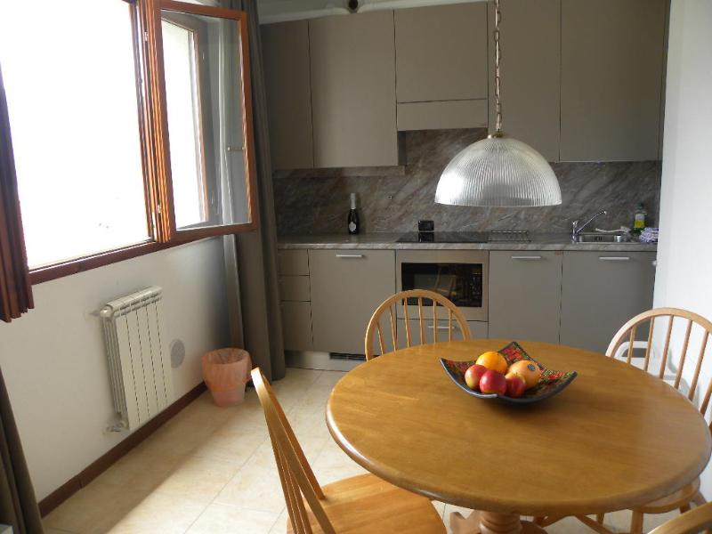 The kitchen is fully equipped including a grill/microwave, dishwasher, induction cooker, etc.