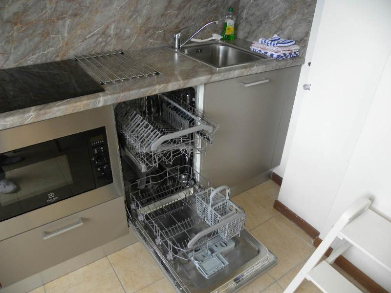 The open kitchen is fully equipped with a dishwasher, grill/microwave and induction hob.