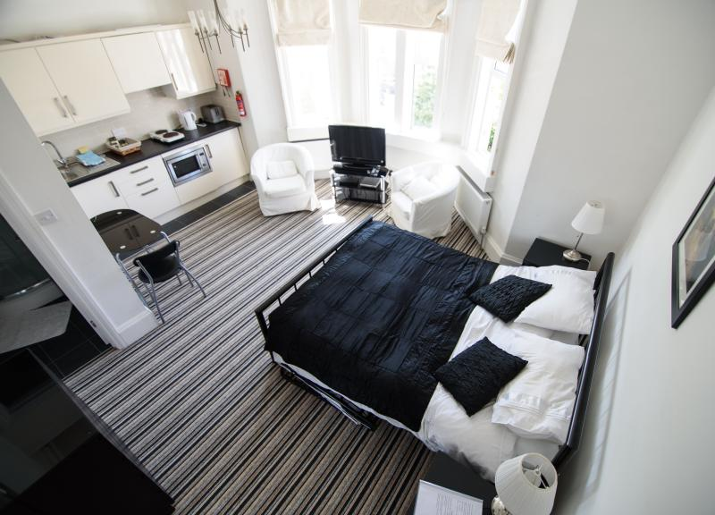 Studio 3, a large room with a bay window and everything you need for a comfortable stay