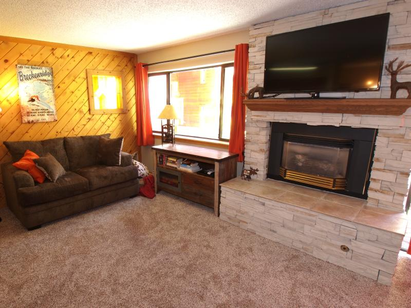 Sala de estar con pantalla plana y chimenea