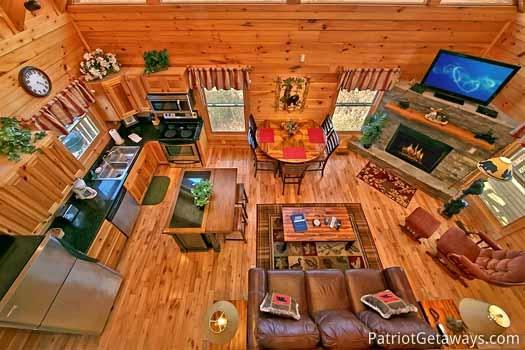 Overhead View of Living Area at Tree Top Lodge