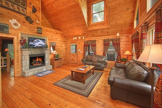 Living Room with Fireplace atTrapper's Trace