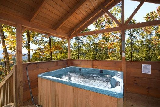 Covered Hot Tub at Mountain Memories