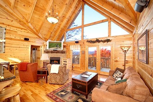 Living Room with Fireplace at Moose Mountain Lodge
