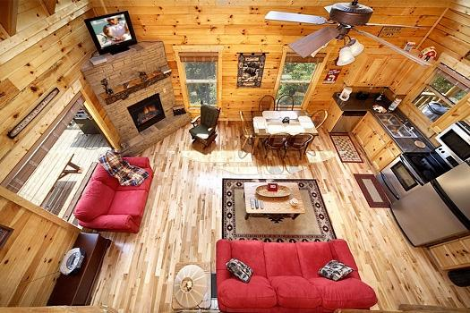 Overhead View of Living Area at Over The Rainbow