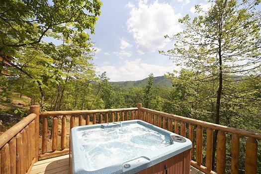 First Floor Deck with Hot Tub at Over The Rainbow