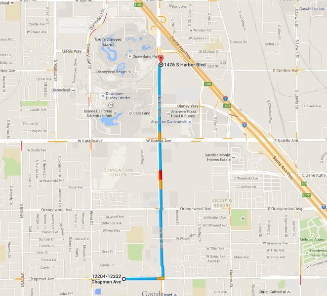 5 minute drive to Disneyland drop-off parking