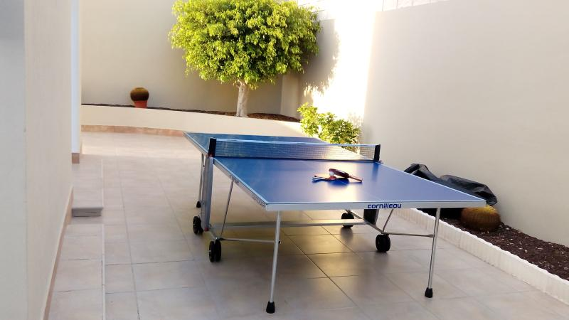 Outdoor table tennis.