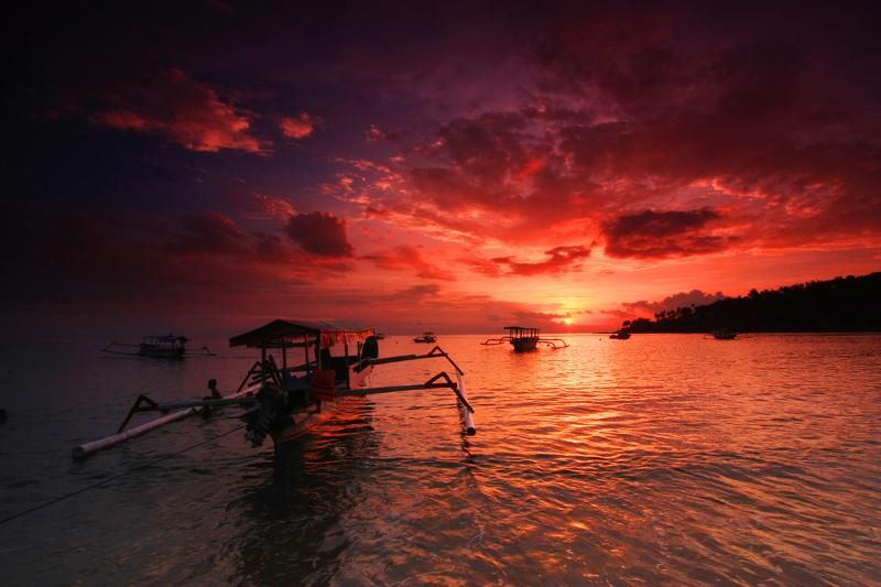 Amazing sunset on Gili Trawangan