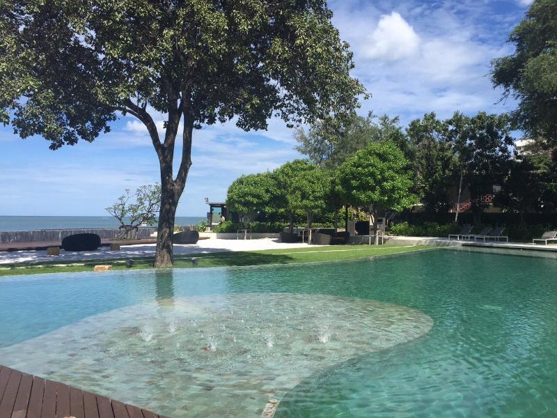 Swimming pool next to beachfront
