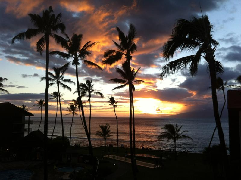 Beautiful Maui sunset as seen from your Lanai.