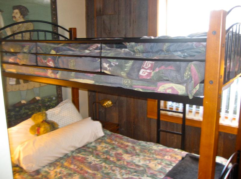 Double bed with top single bunk