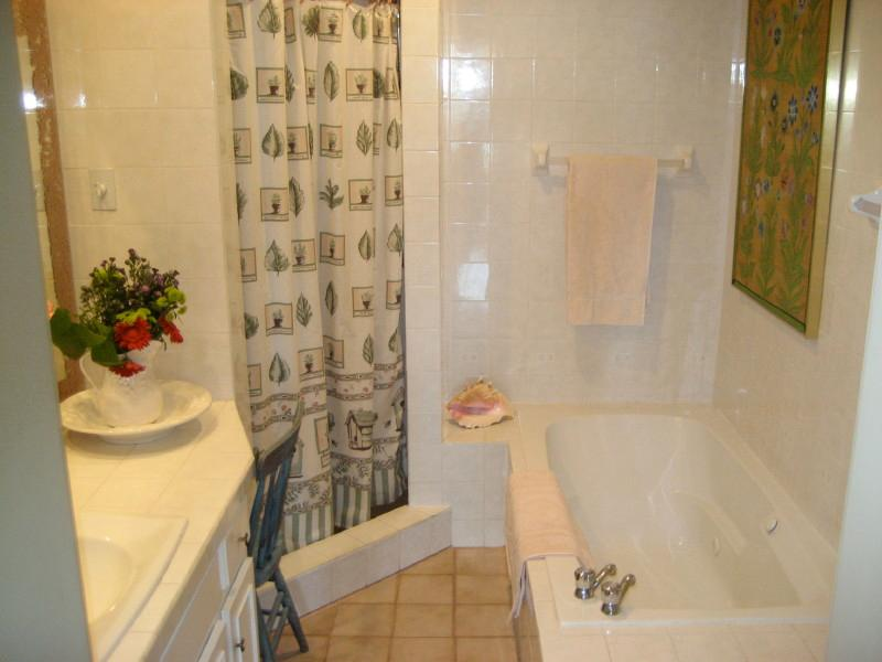 Main bathroom with separate shower and jacuzzi tub.