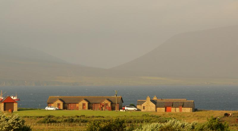 Buxa Farm Chalets & Croft House overlooking the sea and the hills of Hoy