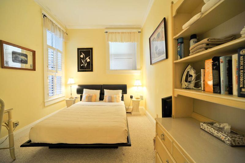 Bedroom one has a queen size memory foam mattress and pillows.