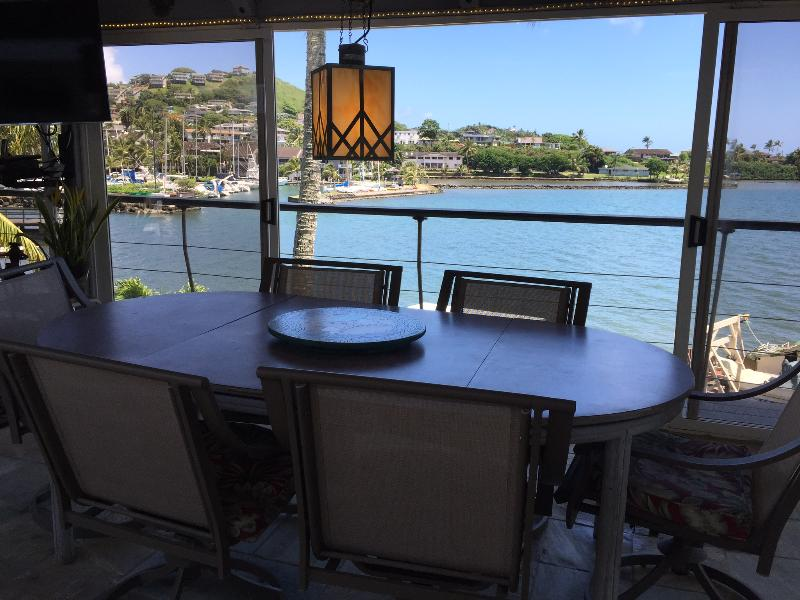 Dining facilities on the deck overlooking the marina.
