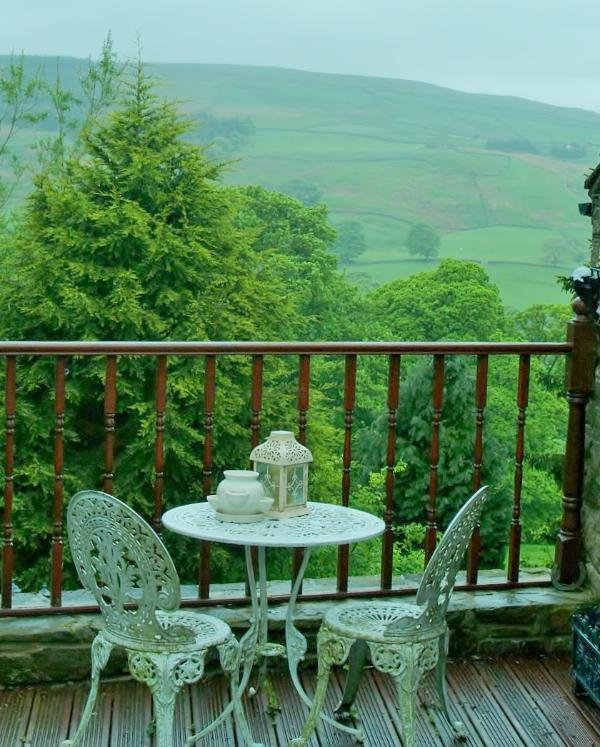 The balcony decking area with view beyond