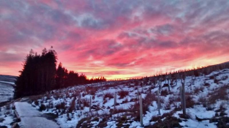 Winter sunset at Burnhope reservoir