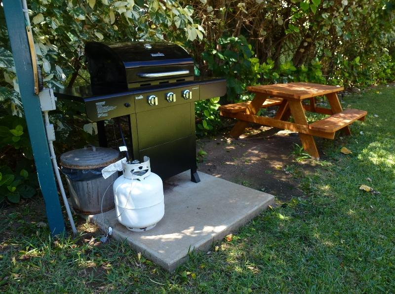 Grill adjacent to Building 10. Within 75 feet of condo.