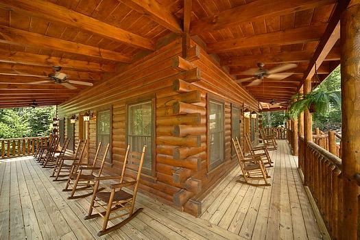 Front and Side Decks with Rocking Chairs at Pool House