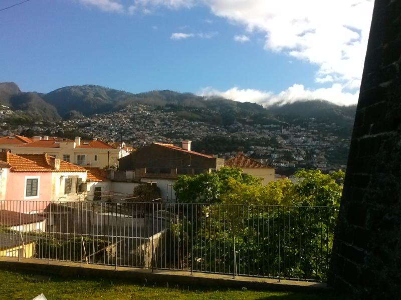 Another view from the local Pico Castle grounds looking towards the mountains, castle walls on right