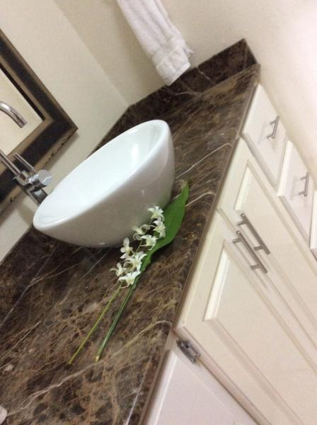 Modern bathroom sink with granite counter